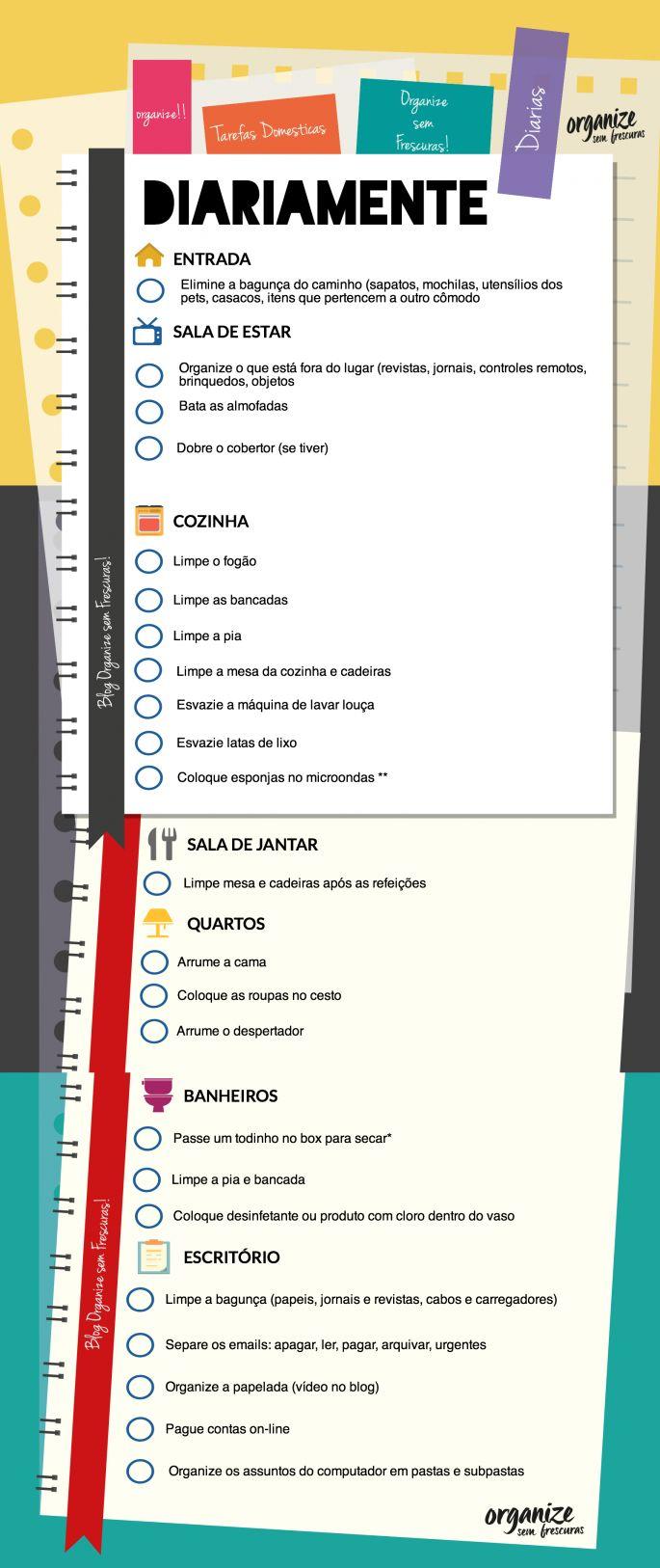 Organize sem Frescuras | Rafaela Oliveira » Arquivos » Infográfico das Tarefas Domésticas Diárias