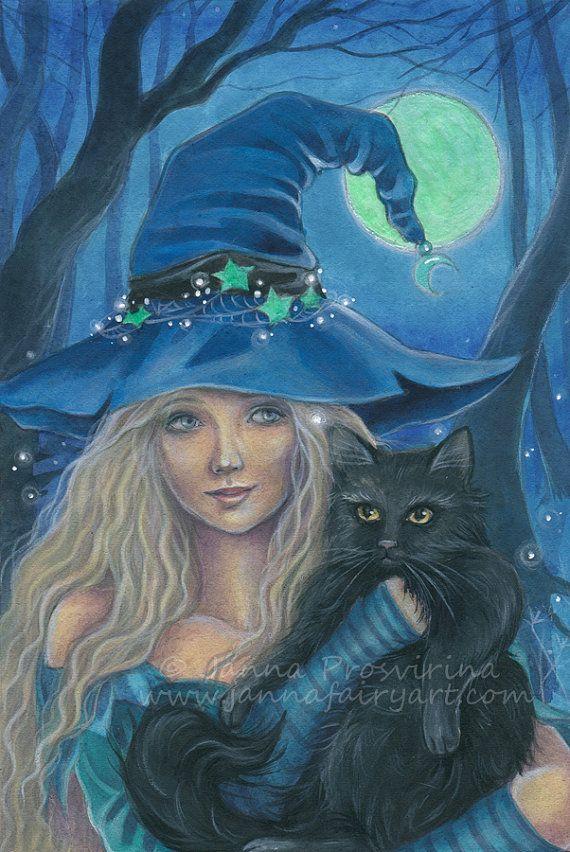 Witch Halloween Archival Art Print Illustration by Jannafairyart #TheWitchingHour