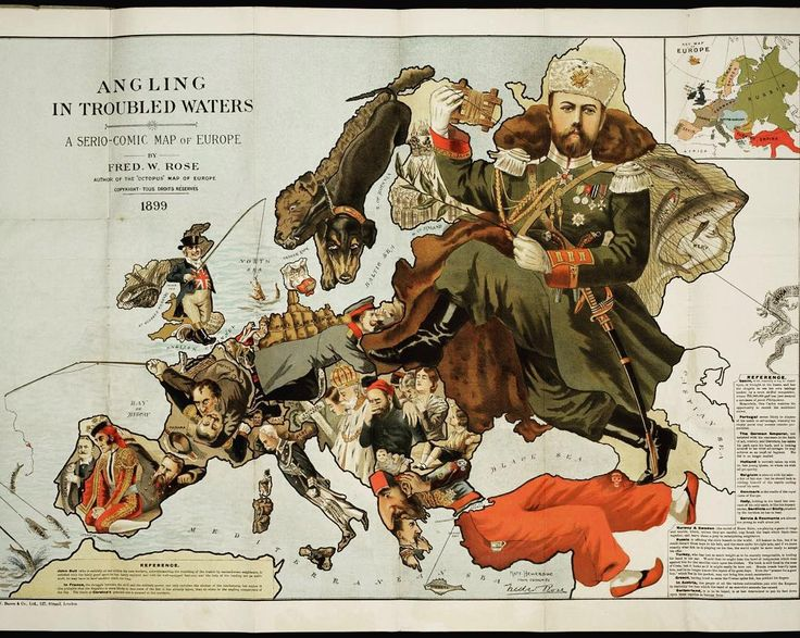 """Just one more map post as I think some of you guys like old maps as much as me: """"Angling in Troubled Waters: a Serio-Comic map of Europe by Fred W Rose 1899."""" Rose wanted to take a satirical look at country boundaries and paint a picture that represents the nation's position in colonial world. A lot of parallels can be drawn with current global politics and the image certainly makes for fascinating viewing with the knowledge of how the 20th century played out.  England is represented by John…"""