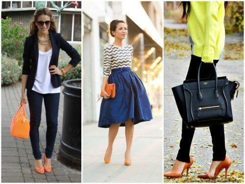 обувь ОРАНЖЕВОГО цвета - сочетание с одеждой