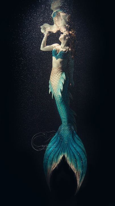 Beautiful Mermaid Crystal! tail by Finfolk products full silicone mermaid tail with the Loreena fluke