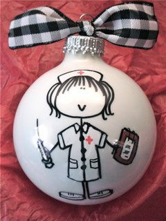 Nurse  Hand Painted Personalized Ornament by HappyYouHappyMe, $14.00