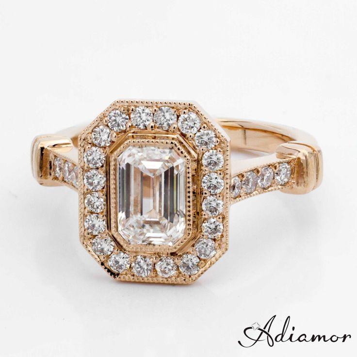 Beautiful Custom Rose Gold Emerald Cut Diamond Engagement Ring