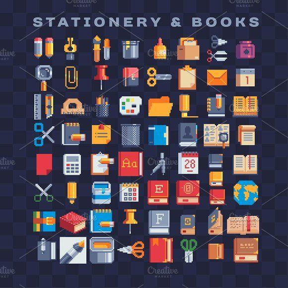 Stationery Pixel Art Icons Set By Vectorpixelstar On Creativemarket Pixel Art Food Cool Pixel Art Pixel Art Design