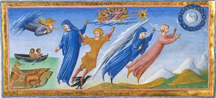 Paradiso - Detail of miniature of Dante and Beatrice visiting the inhabitants of the heaven of the moon
