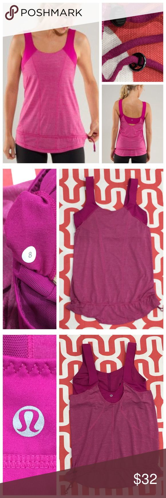 Lululemon Run For Your Life tank Heathered Raspberry (color does to photograph well - stock photo is best representation). Excellent preloved condition. Only flaw is some paint chipping on Lulu button at cinch - see photo. Loose fitting with medium support bra. 4-way stretch Power Luxtreme with Silverescent mesh. Cinchable drawcord at hem. Does not include cup inserts. No trades. No PayPal. Price firm unless bundled. lululemon athletica Tops Tank Tops