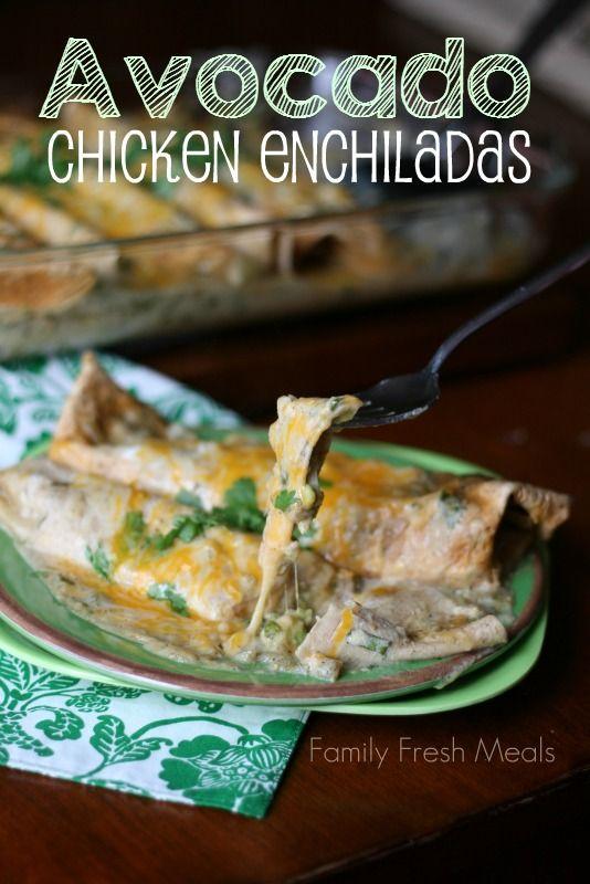 Avocado Chicken Enchiladas Avocado + Chicken + Cheese = I need a bigger plate! | FamilyFreshMeals.com