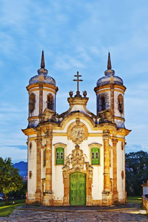 The entire city of Ouro Preto in the state of Minas Gerais is know for its Baroque architecture, but the 18th century Church of Saint Francis of Assisi is a particularly gorgeous example.