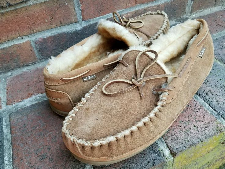 LL L. L. Bean Wicked Good Moccasin Slippers Suede Sheepskin Shearling Mens 12  #LLBean #MoccasinSlippers