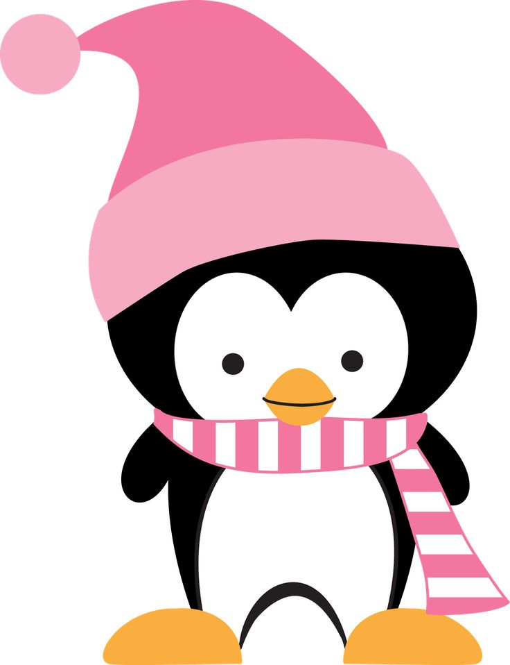 Cartoon christmas girl penguin