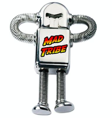 Amazing Tales : Robot USB stick : Mad Tribe Released July 14 2017 on TIP Music, available for pre-sales now.  Limited edition of 300 pieces. This metal robot USB stick looks & feels fantastic !  The metal cap is shaped like a helmet, and there is a keychain attached to the backside. The USB is loaded with all 9 tracks from the CD plus a bonus track, wallpapers, ringtones & Mad Tribe icons Mad Tribe is the fantastic collaboration between Space Tribe & Mad Maxx !