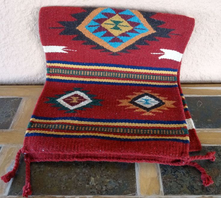 Southwestern Table Runner 32-16X80 Hand Woven Southwest Wool Geometric Design #ElPasoSaddleBlanketCompany