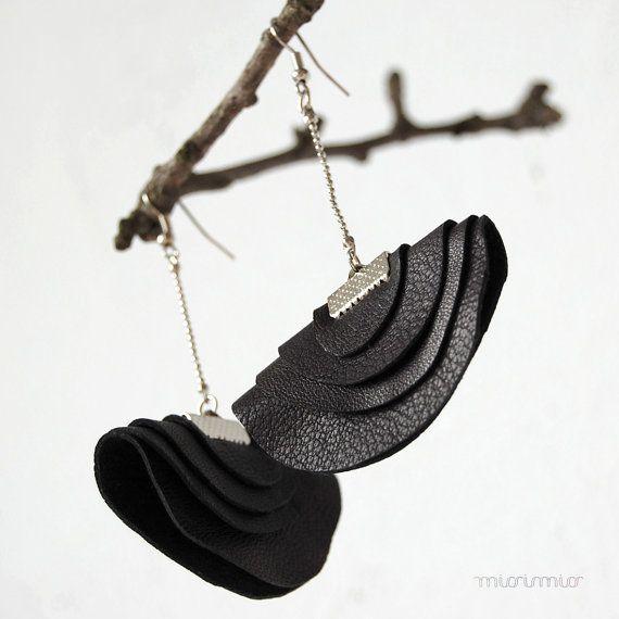 Eco friendly earrings.Fashion earrings.Leather earrings.Long earrings.Dangle earrings. Black earrings.Layered leather earrings.Ready to ship on Etsy, 63.85 ₪