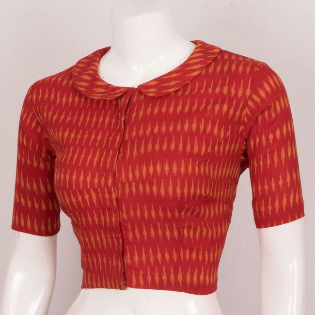 Hand Crafted Ikat Cotton Blouse With Collar Neck - Size 38 10022964 - AVISHYA.COM