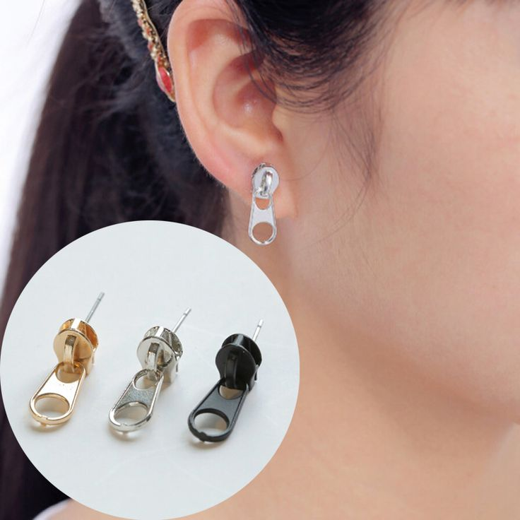 1 Pair Women Lady Girl Hot Fashion Trendy Chic Wholesale Punk Zipper Studs Earrings Gift Free Shipping