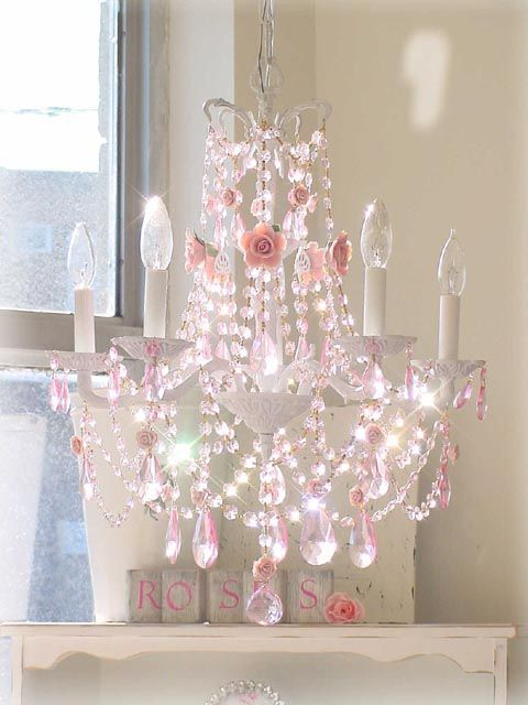 Beautiful Pink Chandelier Would Make Such A Big Difference In A Girlu0027s Room   Add  Some Sheer