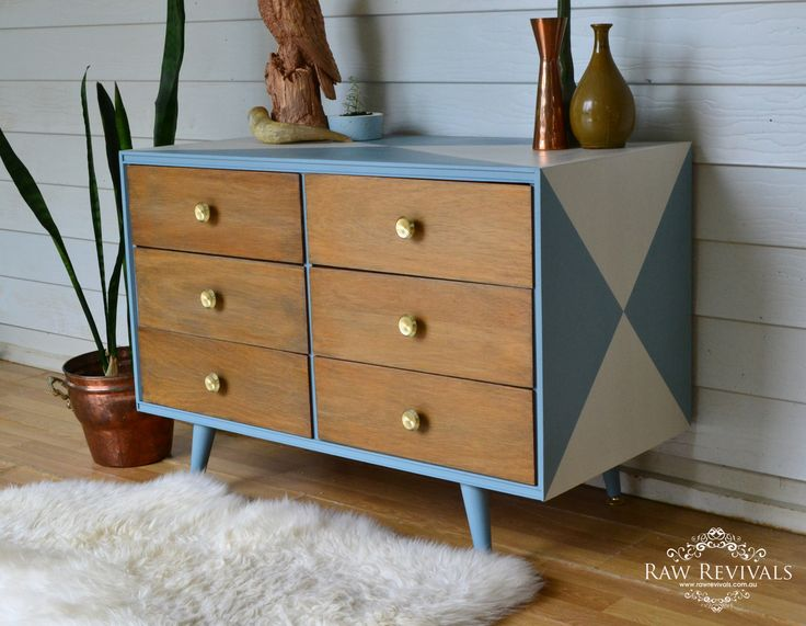 Vintage 60s chest of drawers with geometric feature.  www.rawrevivals.com.au