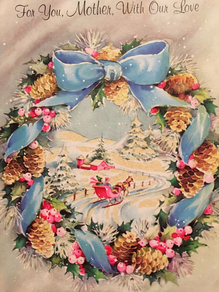 A personal favorite from my Etsy shop https://www.etsy.com/listing/486228567/vintage-christmas-card-glitter-pink-blue