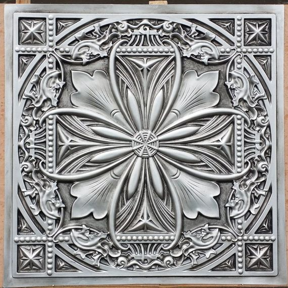 PL10 Faux tin finished antique silver 3D embossed 2x2 ceiling tiles Interior wall panel store cafe pub decor ceiling panels 10tiles/lot $19 etsy