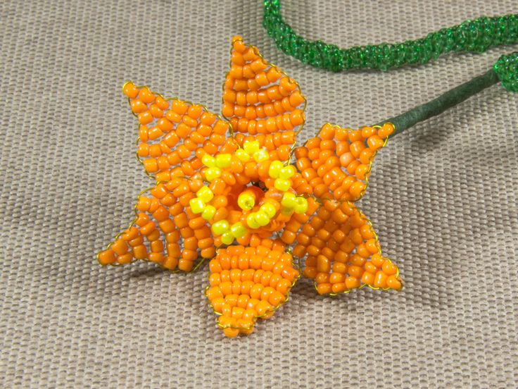 French beaded orange yellow narcissus / daffodil / jonquil flower made of seed glass beads/ beadwork/ Beaded artificial flower http://etsy.me/2CKtmia #housewares #homedecor #orange #housewarming #valentinesday #yellow #bedroom #narcissus #beadedflower
