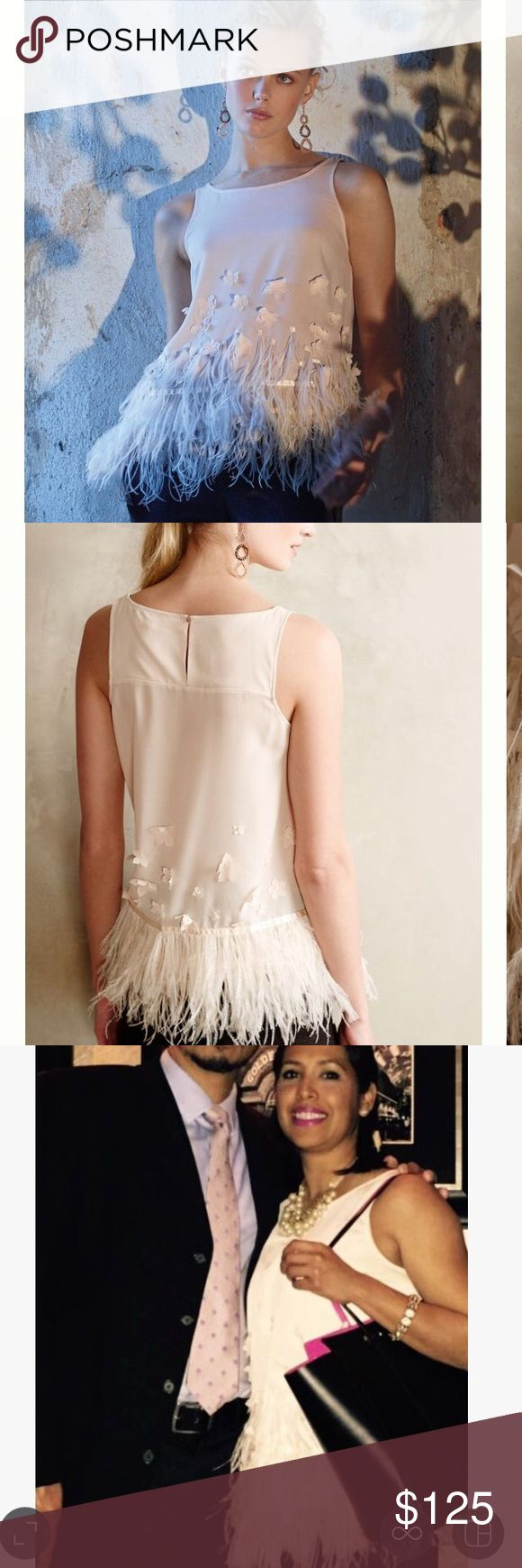 Anthropologie feathered fringe blouse. Anthropologie feathered fringe blouse. What can I say about this blouse it's amazing. Only worn once. I will post more pics and measurements this evening. Sold out hard to get your hands on. Anthropologie Tops Blouses