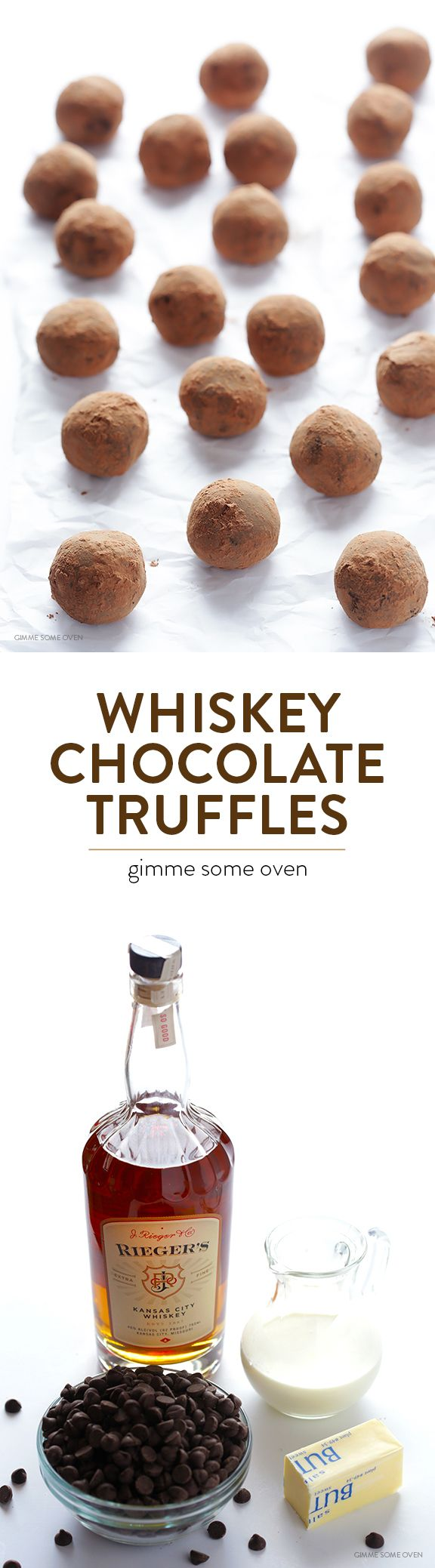 5-Ingredient Whiskey Dark Chocolate Truffles -- super easy dessert to make that's rich and delicious, with a surprise kick of whiskey! gimmesomeoven.com