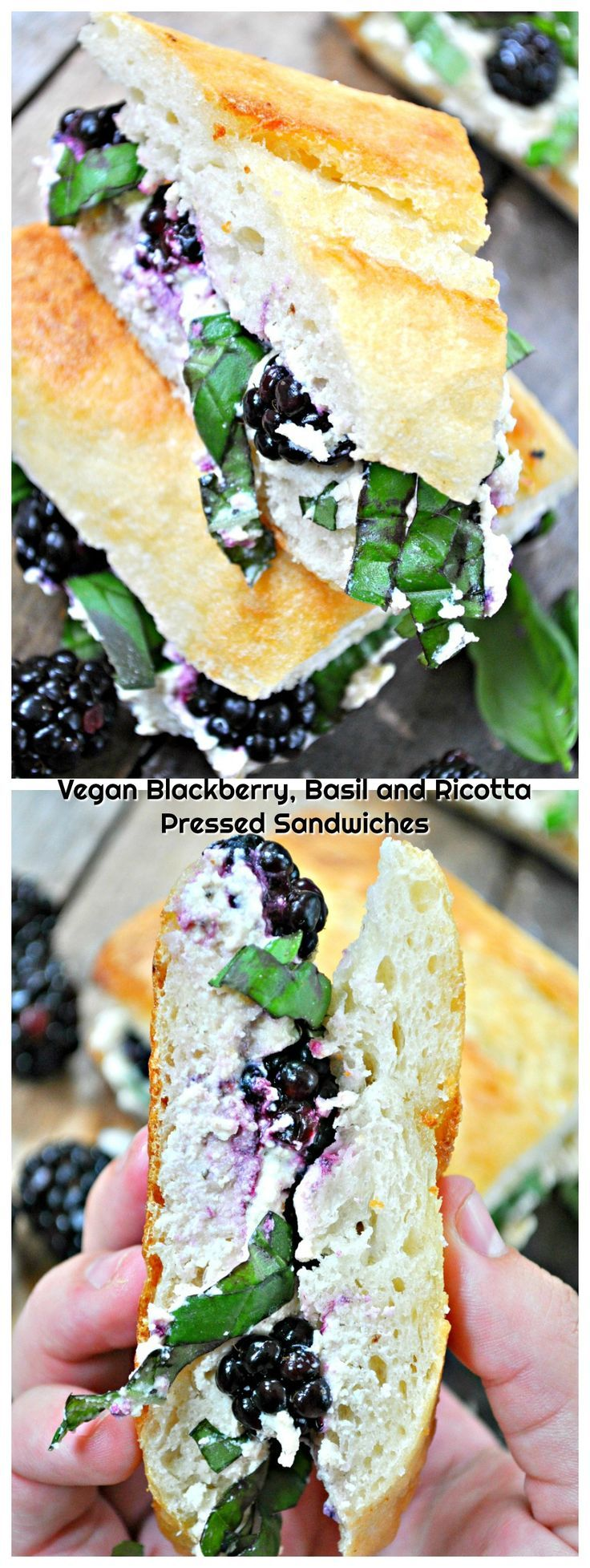 Vegan Blackberry, Basil and Ricotta Pressed Sandwich