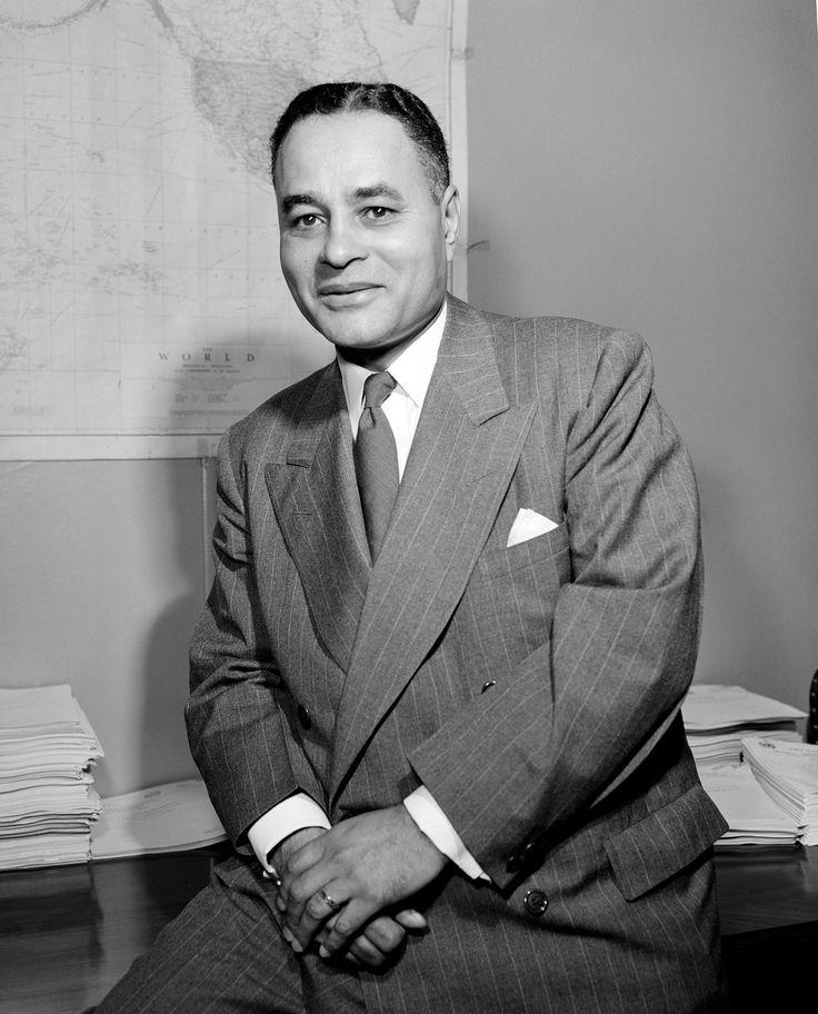 Prix Nobel de la paix 1950 - Il est attribué à Ralph Bunch, médiateur des Nations Unies en Palestine lors du confit israélo-arabe (1948), artisan des accords d'armistice entre Israël et les États arabes.