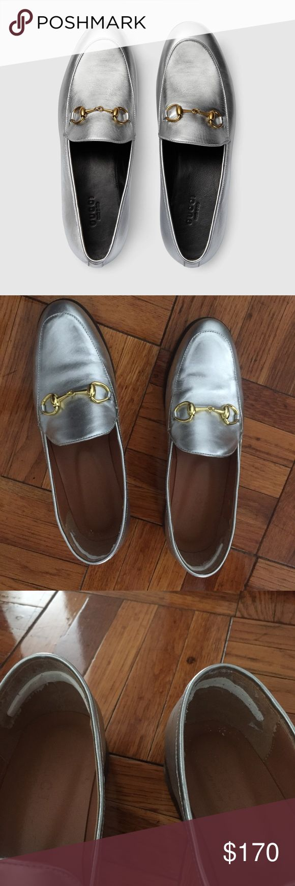 Gucci Horsebit Loafers Silver 38/8 Worn a few times, I used heel stickers to make them feel smaller but they didn't work. Price reflects authenticity. Genuine leather!! Really bummed that they're way too big for me. It's a gorgeous pair and really on trend. Please look at the details in the images, they even have the stamps on the bottom Gucci Shoes Flats & Loafers