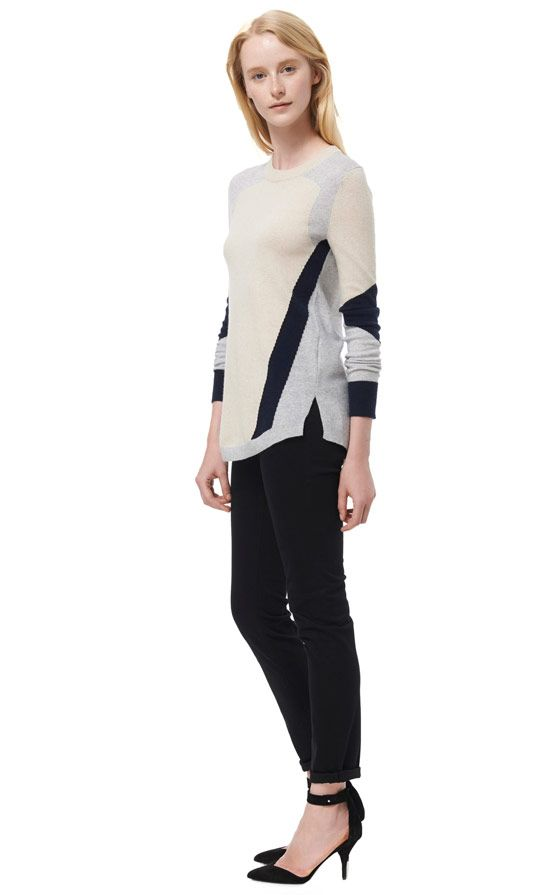 Rebecca Taylor Colorblocked Intarsia Sweater
