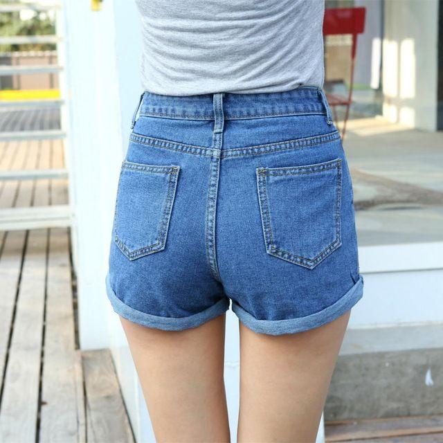 2016 Новых Моде джинсы женщин Летом Высокой Талии Стрейч Джинсовые шорты Тонкий Корейских Случайные женские Джинсы Шорты Горячей Продажи Плюс размер купить на AliExpress