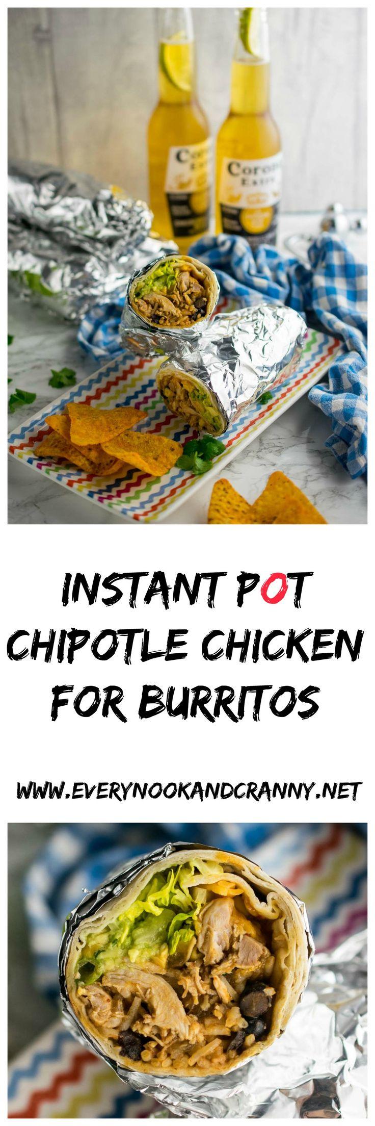 Instant Pot chipotle chicken for burritos
