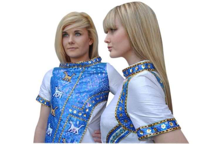 Dresses inspired by Babylonian civilisation, depicting the layout of Ishtar Gate. They are made from silk and embellished with hand embroidery and sequins. www.goldenstitch.ie