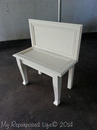 Repurposed cabinet door bench.
