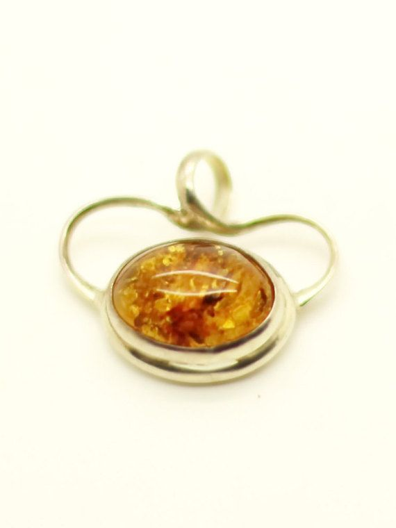 Baltic Amber Pendant - Sterling Silver Necklace - Genuine Amber Jewelry - Sterling Silver Chain 20 Inch - Art Nouveau Style - Gift for Her at VintageArtAndCraft