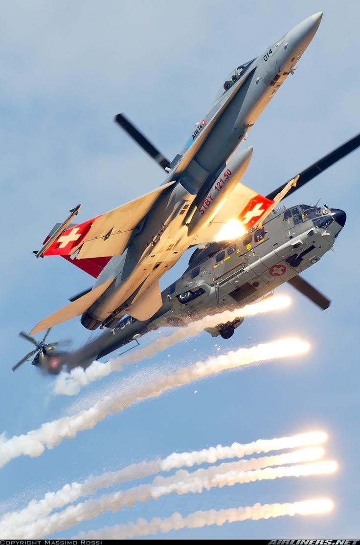 McDonnell Douglas F/A-18C Hornet J-5014 (cn 1359/SFC014) & Eurocopter EC 725 Super Cougar. 100 years of Swiss Air Force