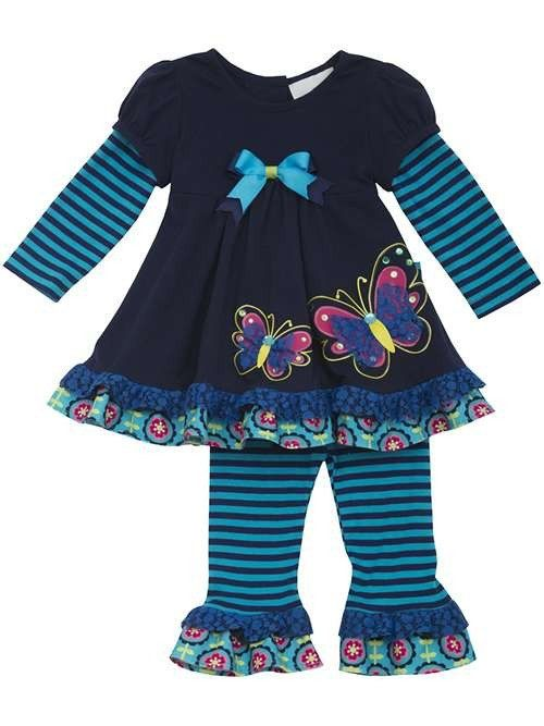 Butterflies and Stripes Navy and Turquoise Pant Set