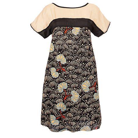 Buy Hoss Intropia Silk Blend Oriental Dress, Black Online at johnlewis.com