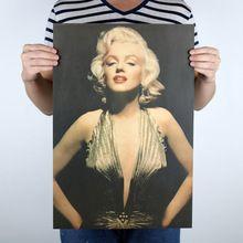 Monroe Affiche Vintage Hollywood Stars Féminines Vieux Photo Rétro Affiche Kraft Papier Autocollants chambre Stickers Muraux Livraison Gratuite(China (Mainland))