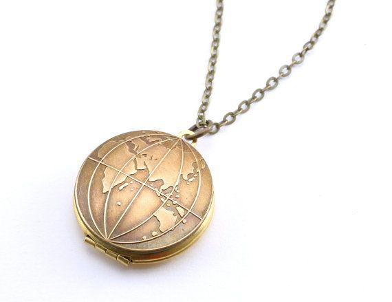 Oude wereld Globe medaillon, Vintage medaillon HALSKETTING, Globe ketting, East, West of Double Sided u kiezen