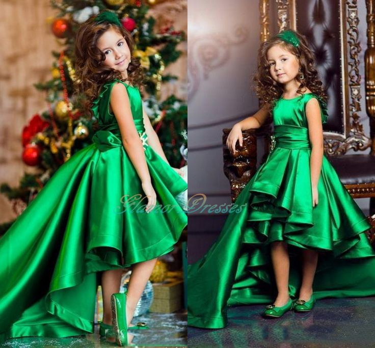 Emerald Green Girls Pageant Dresses High Low Princess