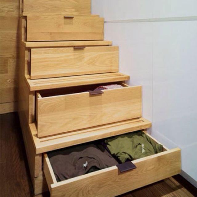 Smart stair storage.