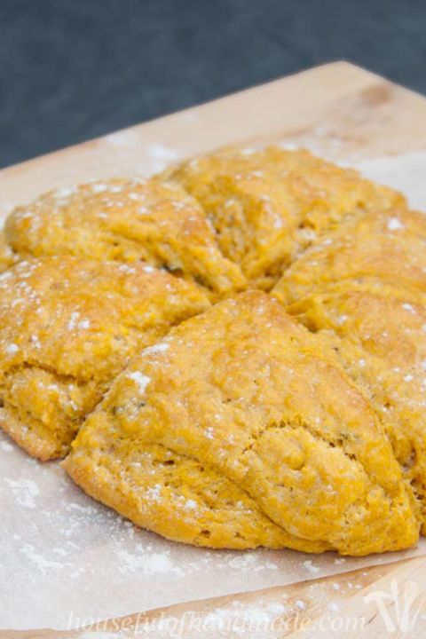 Savory Pumpkin Sage Scones: Give your sweet tooth a rest with this savory recipe. Each bite is light, buttery, and has a hint of fresh sage.