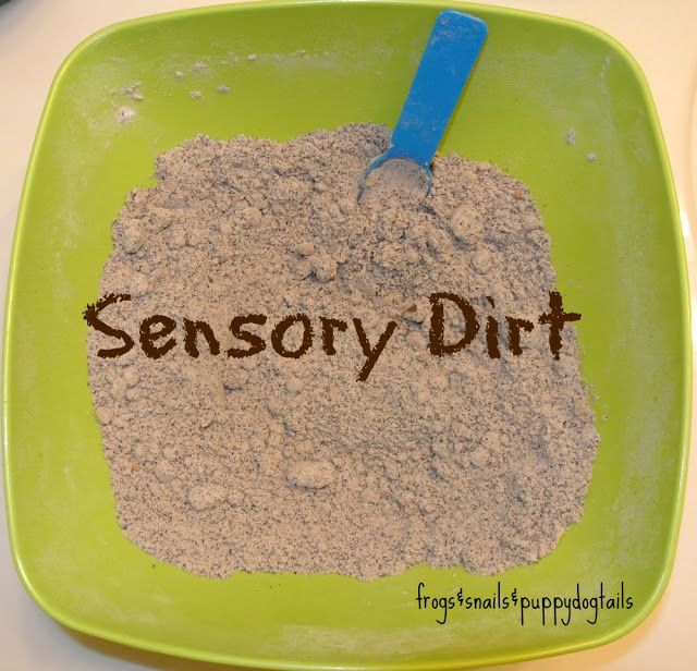 """soft, fluffy, quick - baking soda, cocoa, coffee grounds. Put it in a plastic container with some rocks and fake moss from the dollar tree and played """"jungle"""""""
