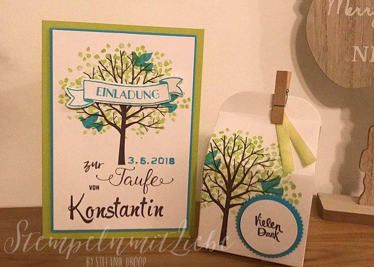 Stampin Up - Karte - Card - Verpackung - Taufe - Konfirmation - Kommunion - Hochzeit - Auftragsarbeit - Stempelset Baum der Freundschaft - Limette Türkis - Einladungskarten - Taufkarten♥ StempelnmitLiebe