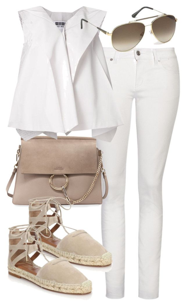 """""""Untitled #2286"""" by mollyk99 ❤ liked on Polyvore featuring Yves Saint Laurent, Chloé, Issey Miyake, Aquazzura and Tom Ford"""