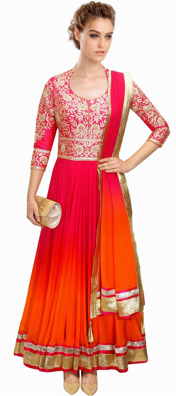 429285: Pink and Majenta color family stitched Anarkali Suits . …