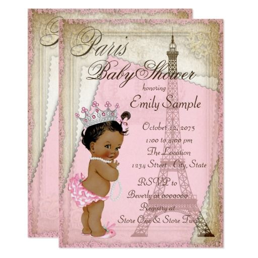 Ethnic Vintage Paris Baby Shower Card