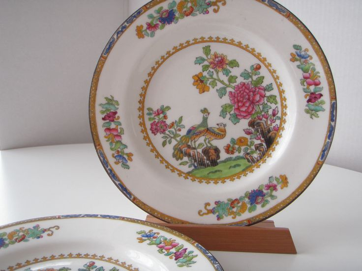 English Copeland Spode Fine China Peacock and Pheasant Chinese Rose Pattern Two Bowls by Blackvintagekitty on Etsy