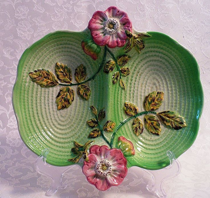 English Staffordshire Wild Rose Divided Candy Dish - early 1900s